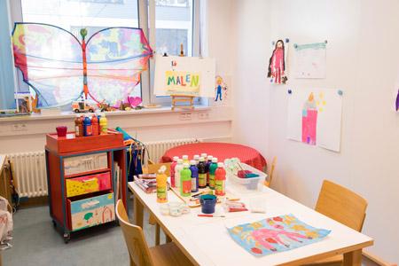 Der Spielraum im UKE, in dem auch die spendenfinanzierte Kunsttherapie stattfindet.
