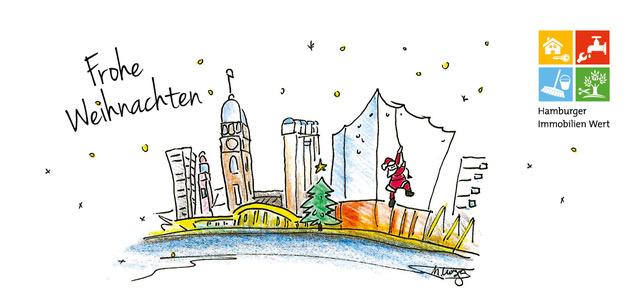 (c) Michael Lusga, Weihnachtskarte. Entwurf für die Hamburger Imobilien Wert GmbH