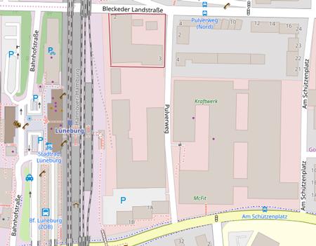 Lüneburg, Pulverweg, Immobilie der Wertgrund, Karte.